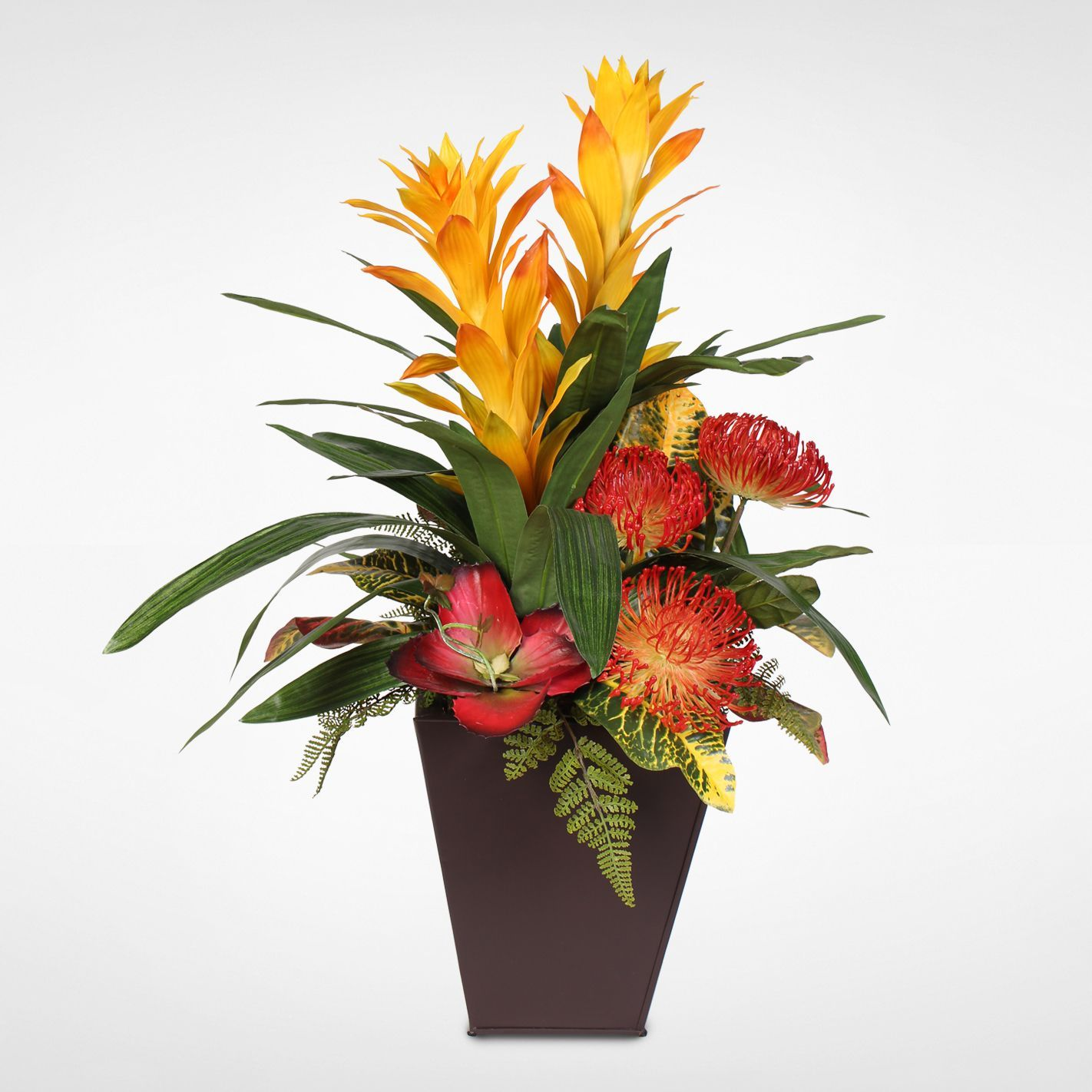 Guzmania Plant with Exotic Flower Variety Arrangement in a Metal (Grey)  Container (Exotic Flower Arrangement in a Metal Container)
