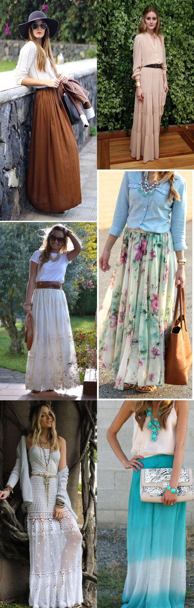 f165628168 Sainas longas  como vestir e onde comprar! O Achados de Fast Fashion dessa  semana vem com várias opções de saias longas lindas e baratas
