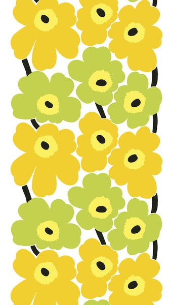 Unikko Oilcloth Fabric Lime Yellow White Behangetjes Marimekko