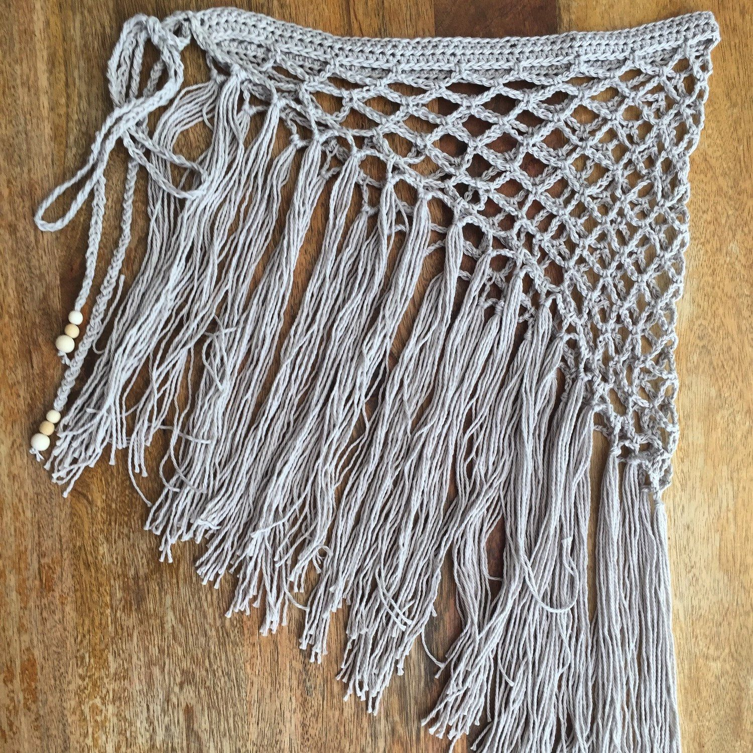 Gypsy fringe hip scarf. Crochet sarong. Crochet wrap. Beach wrap. Cover up. Gypsy clothing. Boho clothing. Festival skirt. Fringe skirt