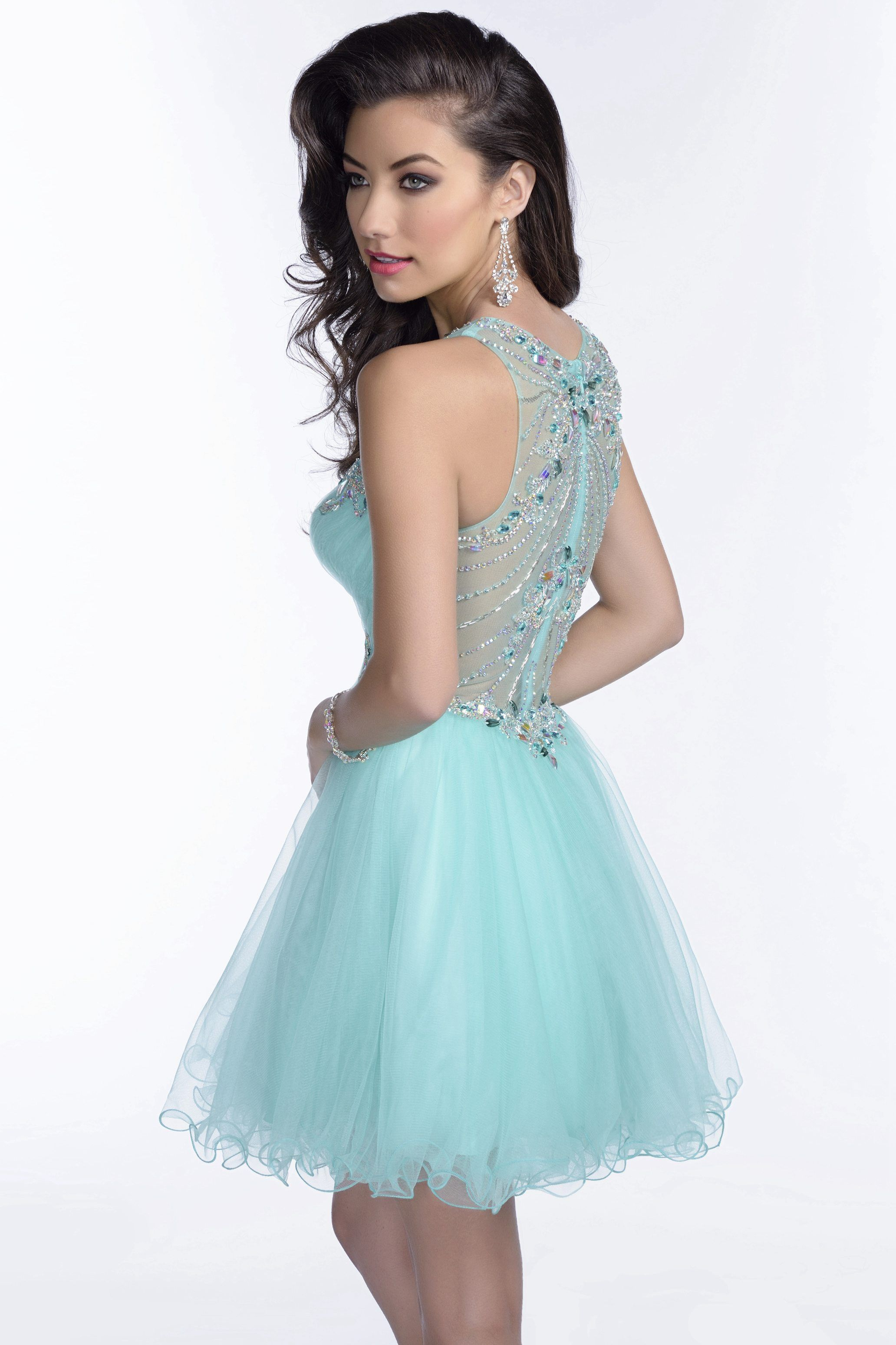 Mini Tulle A-Line Sleeveless Prom Dress With Crystal Detailing ...