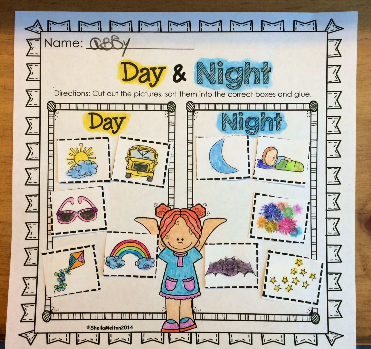 Day And Night Printable Students Cut Out The Pictures Of Objects
