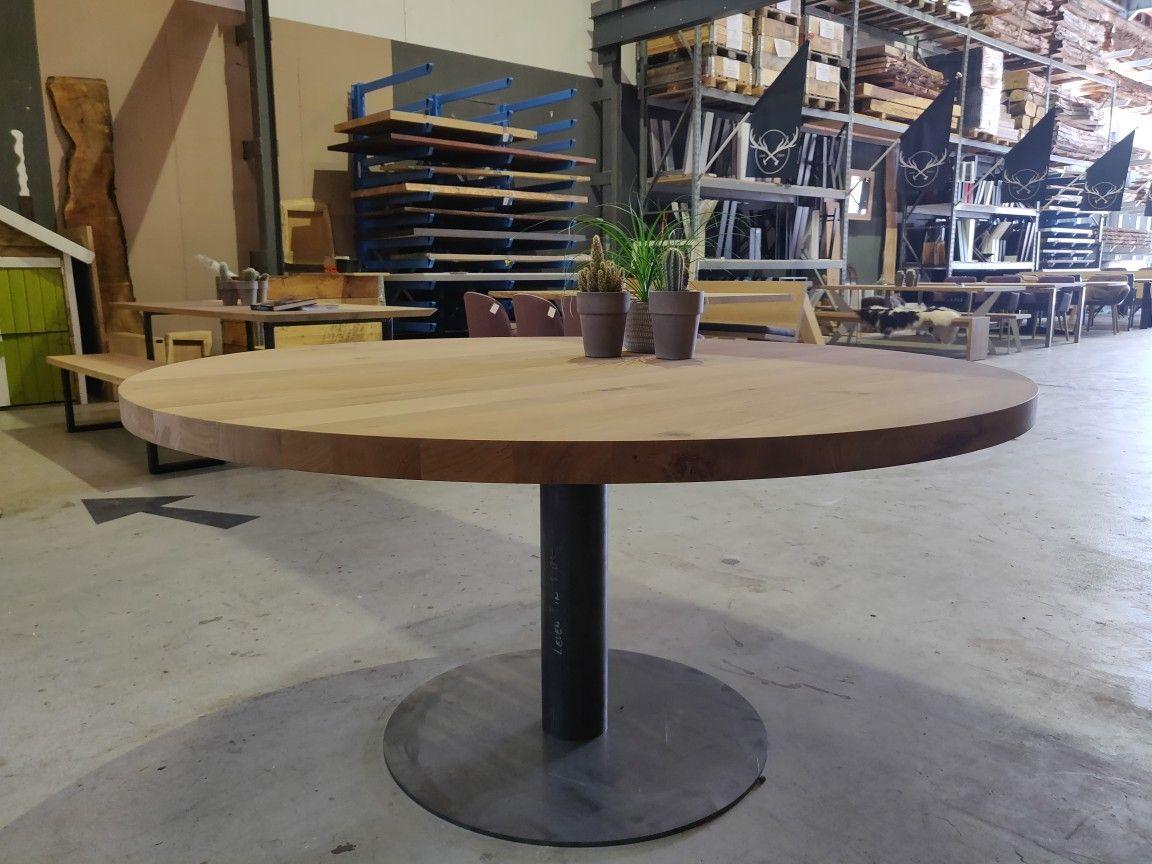 10x Ronde Salontafel : Ronde eettafel met strakke ronde poot van staal. deze tafel maken