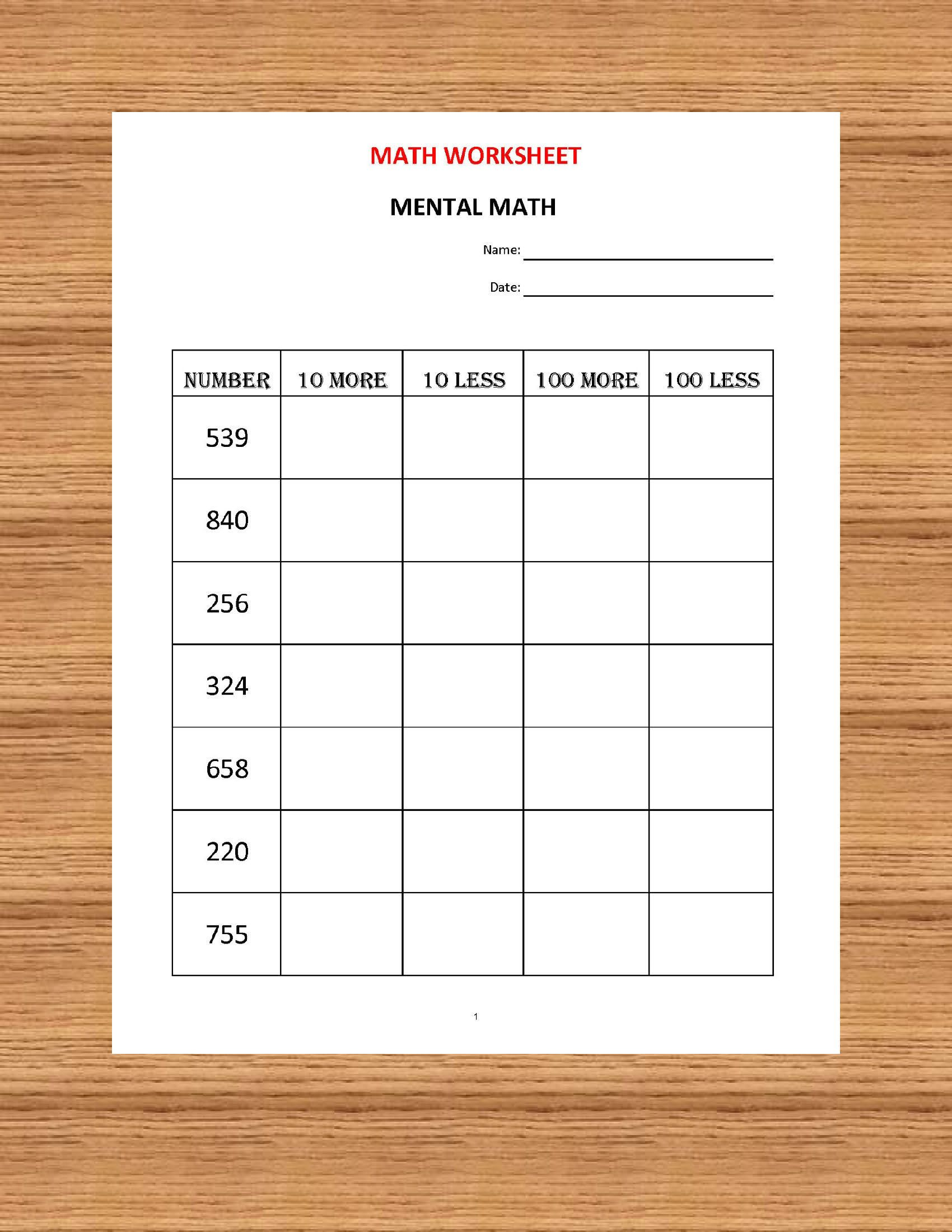 Mental Maths Worksheet Year 1