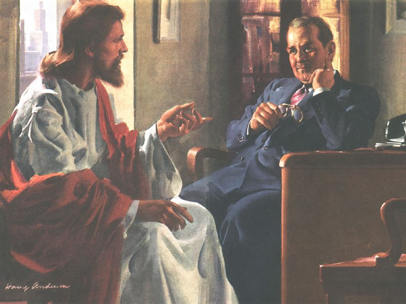 Always a favorite painting by Harry Anderson. Jesus and the businessman.