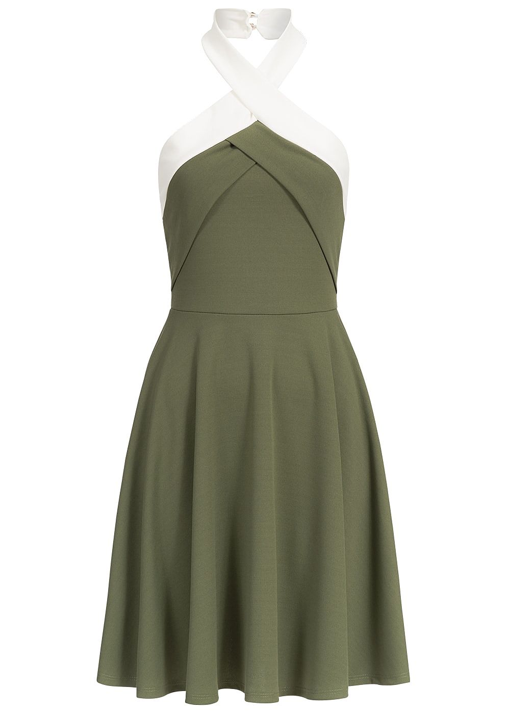 Styleboom Fashion Damen Mini Neckholder Kleid Gummizug ...