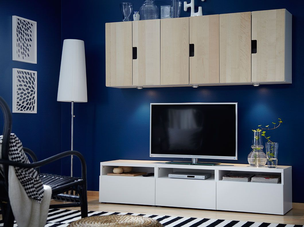 BESTÅ white TV bench with drawers and STUVA wall cabinets with birch ...