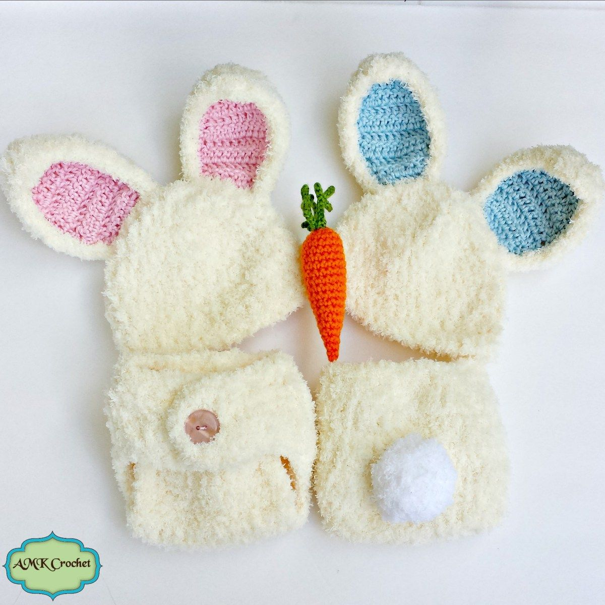 Newborn Easter Bunny Hat and Diaper Cover Outfit, Crochet Newborn ...