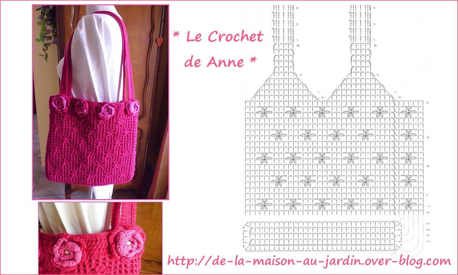 Sac rouge , orné de fleurs roses !   crochet   Pinterest   Bolsos ...