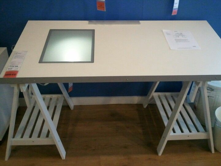 Superior Ikea Drafting Table With Built In Light Box.