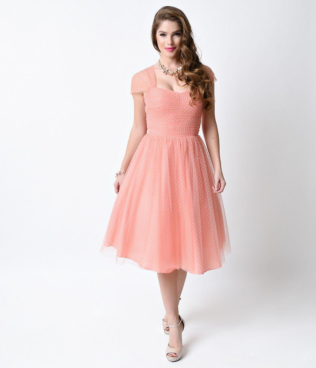 Unique Vintage Peach & White Swiss Dot Garden State Mesh Dress ...