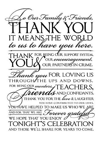 Wedding Thank You Letter To Friends And Family 8 X 10