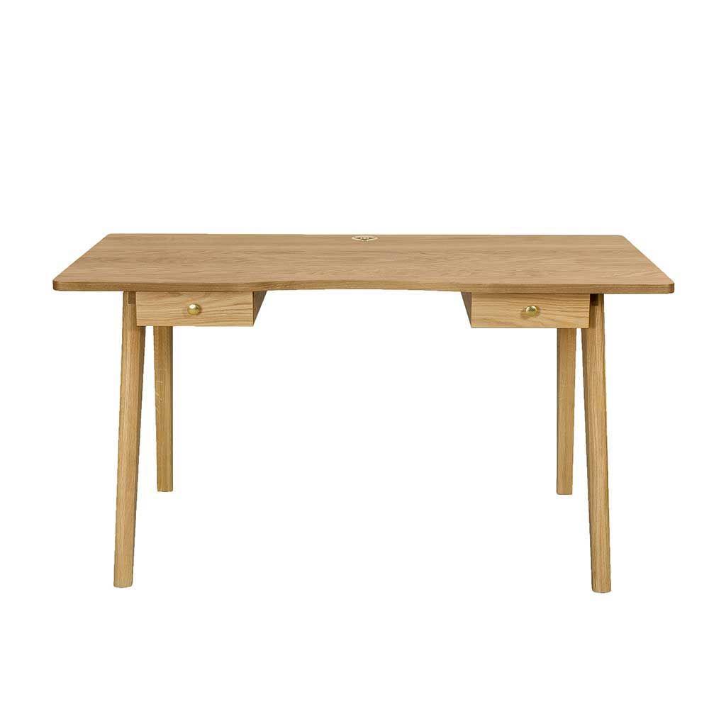 Skandinavischer Design Schreibtisch Eiche Furniert Zwei Schubladen