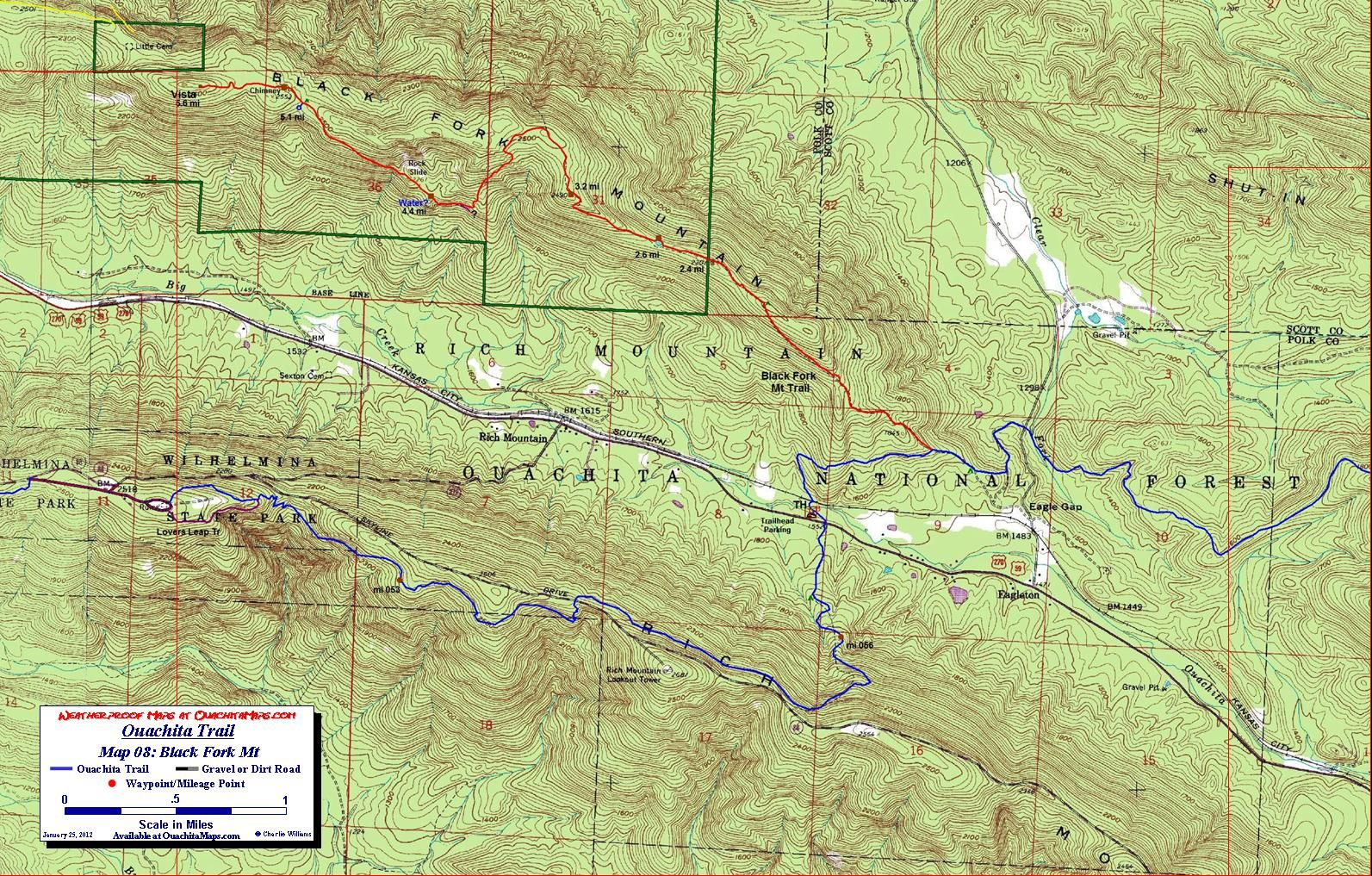 Free Arkansas Topographic Map.Ouachita National Recreation Trail Free Downloadable Topo Maps Of
