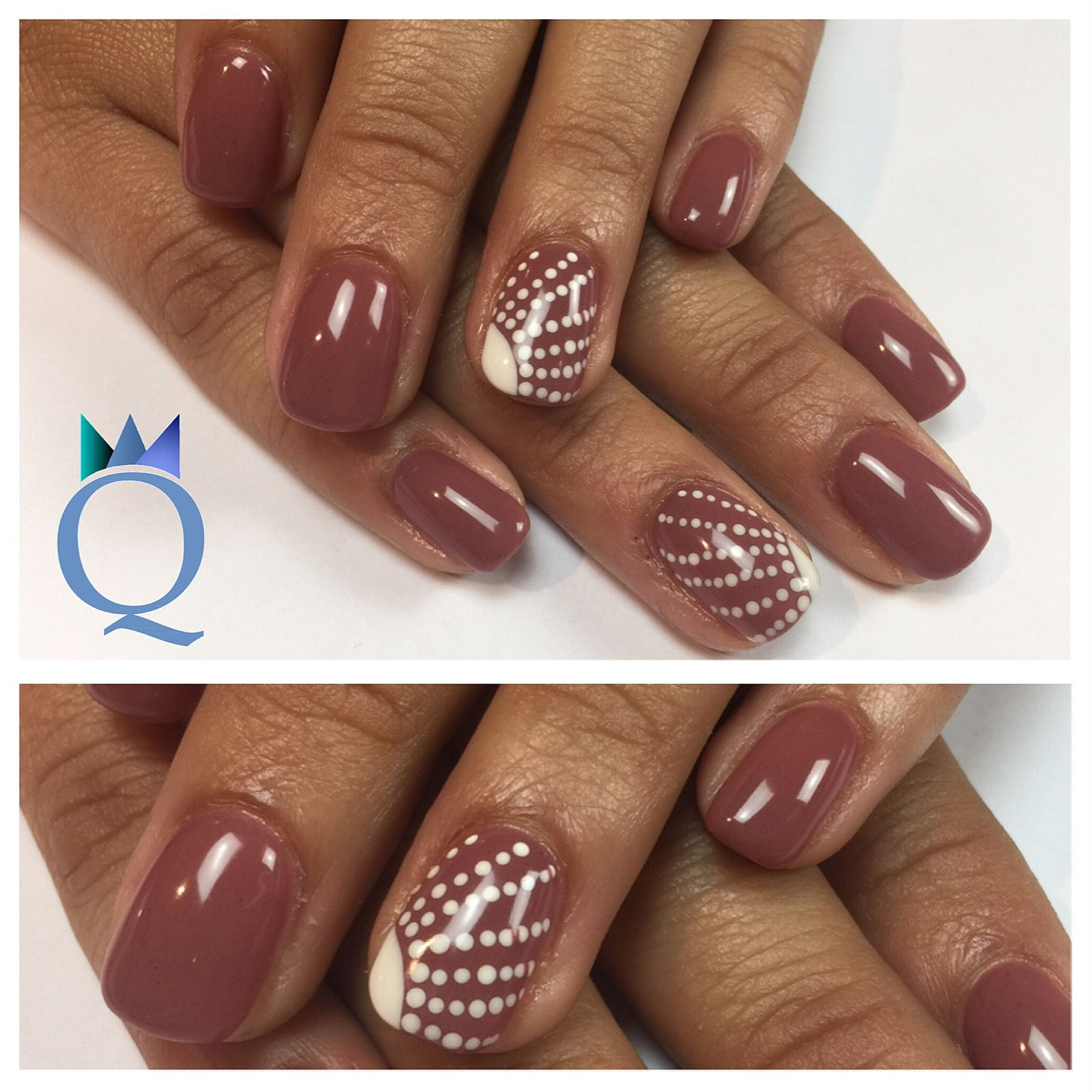 shortnails #gelnails #nails #brown #white #dots #kurzenägel ...