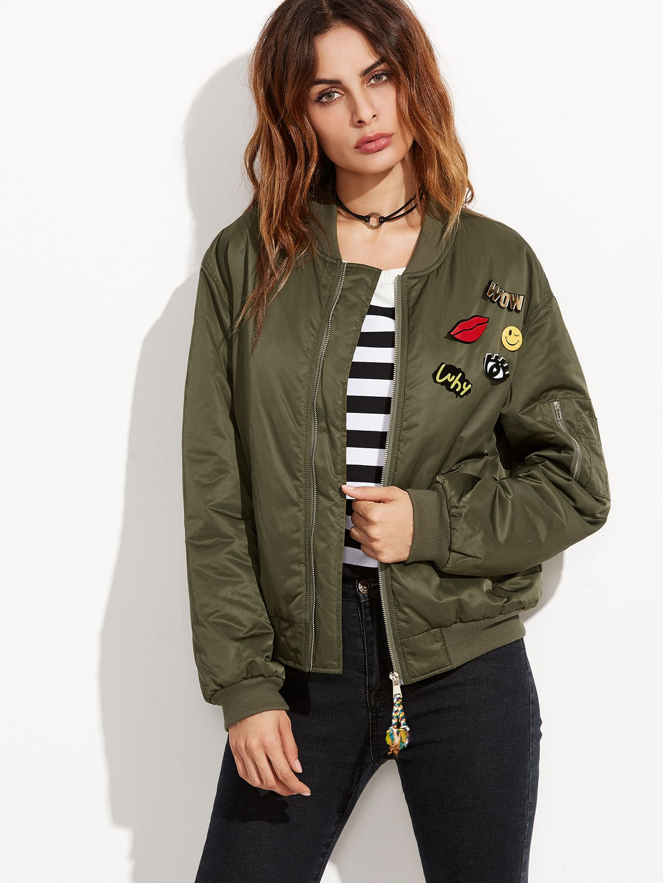 4e18916cbc789b Shop Olive Green Ribbed Trim Satin Bomber Jacket With Lovely Pins online.  SheIn offers Olive Green Ribbed Trim Satin Bomber Jacket With Lovely Pins &  more ...