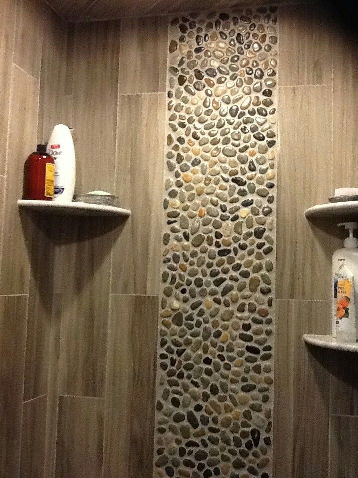 Wood Tile With River Rock Trim Bathroom Remodel