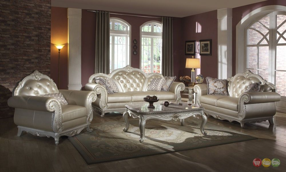 Elegant Metallic Pearl Button Tufted Leather Formal Living Room