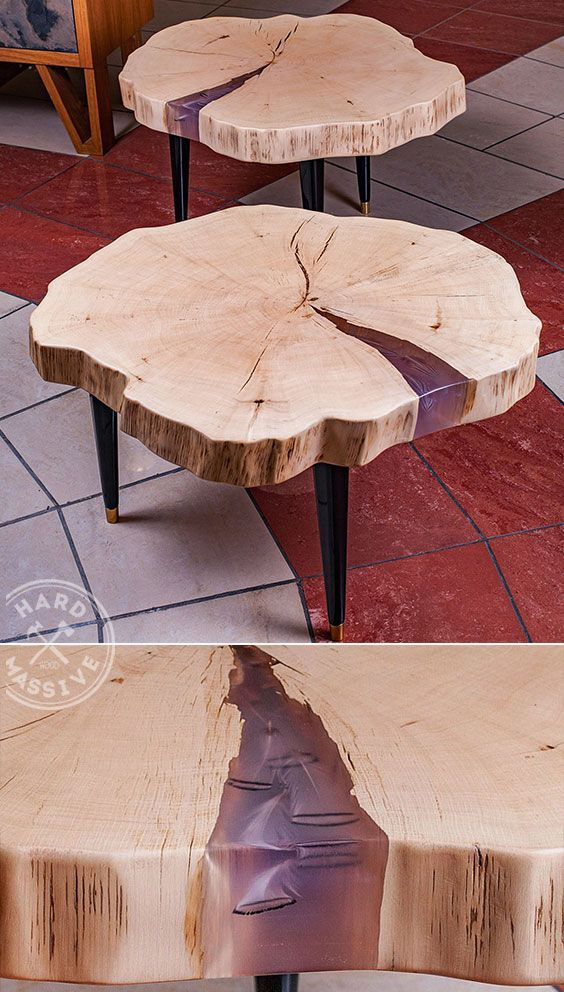 Designer Coffee Table Made Of Solid Wood Hornbeam With A Live Edge And Blue  Epoxy With