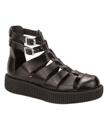 Look at this #zulilyfind! Black Gladiator Viva Low Leather Sandal by T.U.K. #zulilyfinds