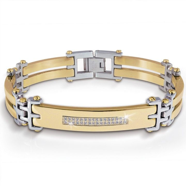 Men s Gold & Steel Diamond Bracelet $169 Men s Jewelry