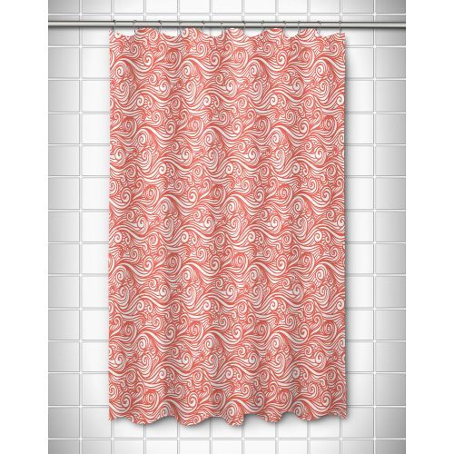 Dreamy Sea Coral Shower Curtain Size 71 High X 73 Wide Color Coral And White Material 100 Coral Shower Curtains Girls Shower Curtain Colorful Curtains