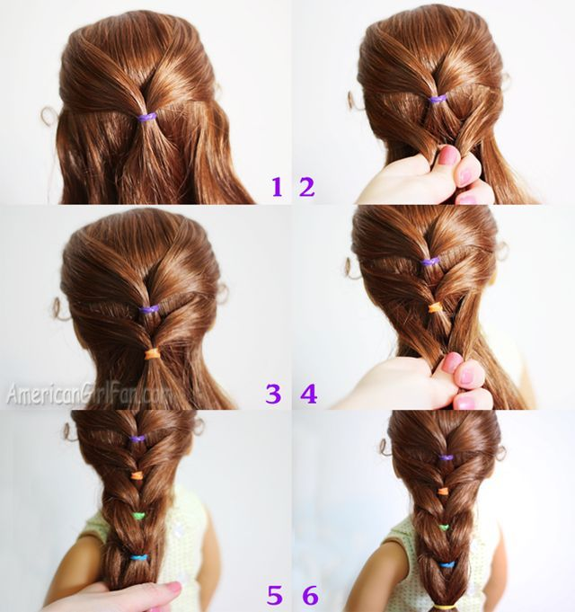 Doll Hairstyle Rainbow French Ponytail Americangirlfan American Girl Doll Hairstyles Hair Styles American Girl Hairstyles