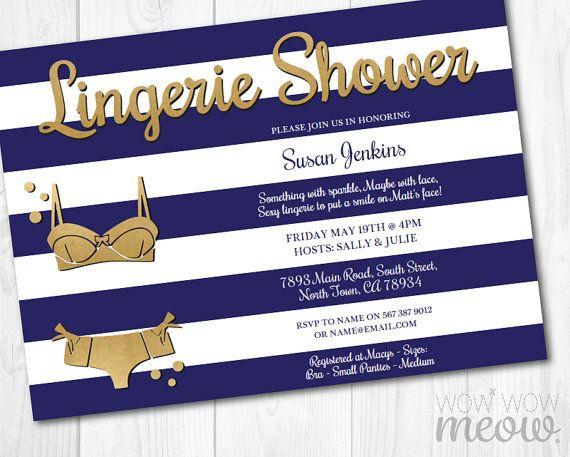 Lingerie Shower Invitations Stripe Invite Gold INSTANT