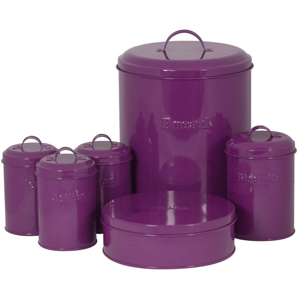 Purple And Green Kitchen Accessories: Sabichi 6-Piece Carbon Steel I Am A Canister Set, Purple
