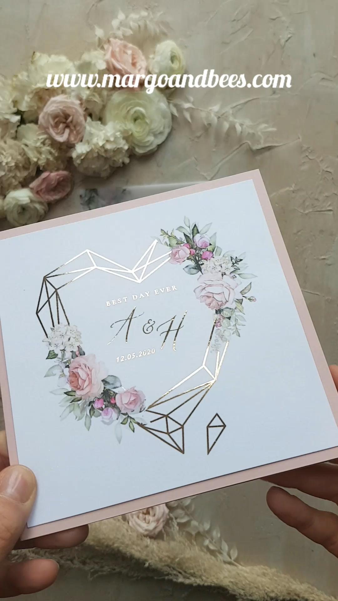 Gold Glamour Wedding Invitations Uk Geometric Heart Vellum Glitter Envelope  Wax Seal