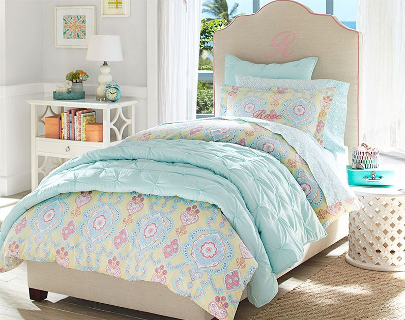 Remi Bed Headboard With Lavender Or Aqua Piping Pottery Barn