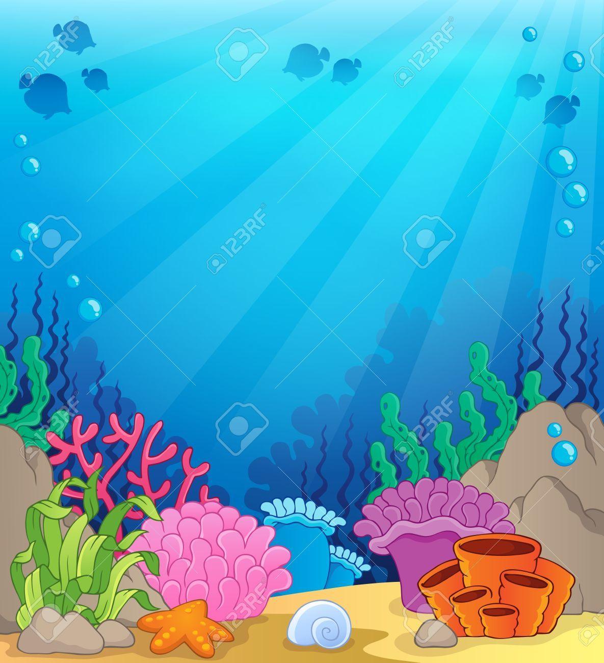 Ocean Underwater Theme Background Illustration Affiliate Underwater Ocean Theme Illustr Underwater Theme Ocean Underwater Scrapbook Background Paper