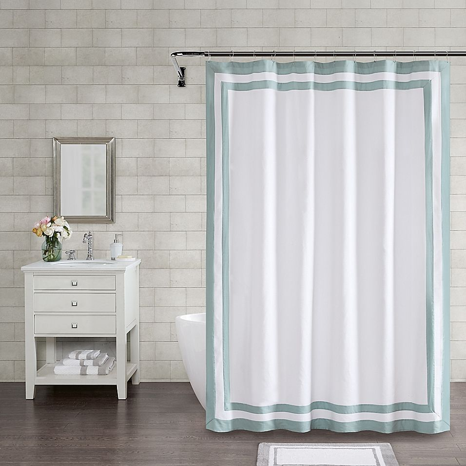 Wamsutta Hotel Border 72 Square Shower Curtain In Aqua Hotel