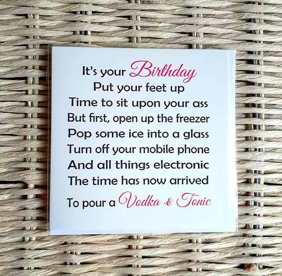 Friend Birthday Card Gin Tonic Card Vodka Tonic Card Funny