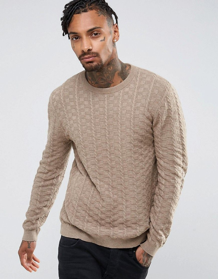 dcf1172befe ASOS Textured Sweater in Light Brown - Brown | Clothes I want ...
