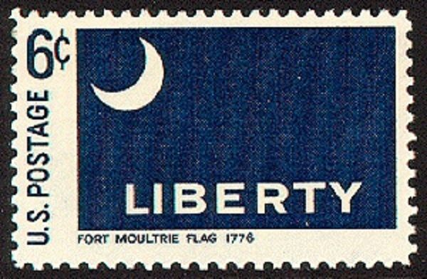 afcd705072b9 A stamp depicting the Fort Moultrie liberty flag. (Credit  U.S. Stamp  Gallery)