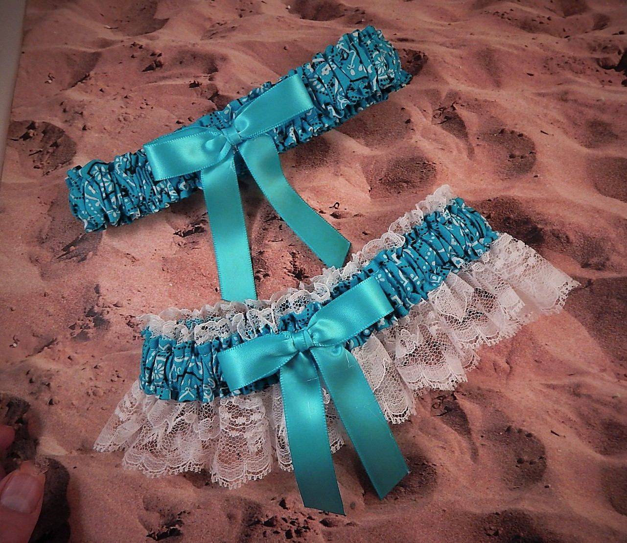 Country Wedding Garters: Turquoise Blue Bandana Paisley White Lace Country Wedding