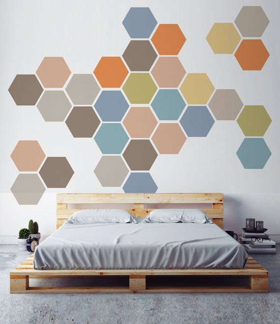Removable Honeycomb Wall Decal 6 Hexagon Stickers By