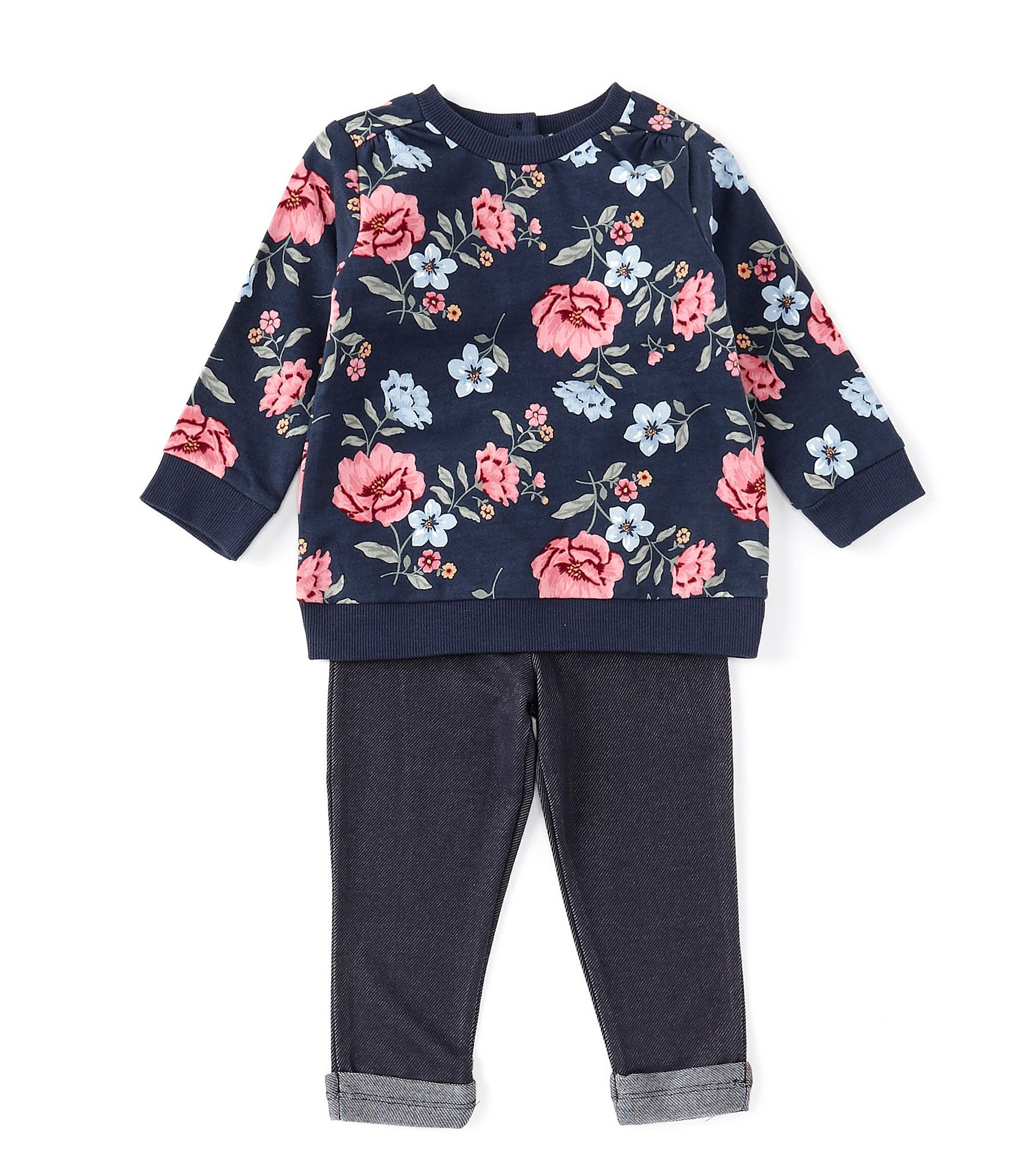 Photo of Little Me Baby Girls 12-24 Months Floral-Printed Sweatshirt & Knit Denim Leggings | Dillard's