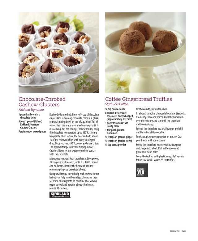 Chocolate enrobed cashew clusters & Coffee Gingerbread Truffles