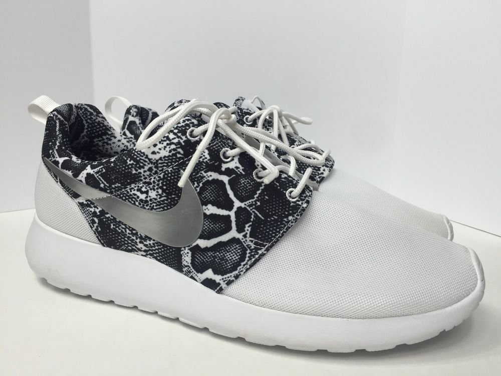 b6a66c75615e Nike Roshe One Run Print Womens Shoes 11 5 White Snakeskin 599432 103  Rosherun