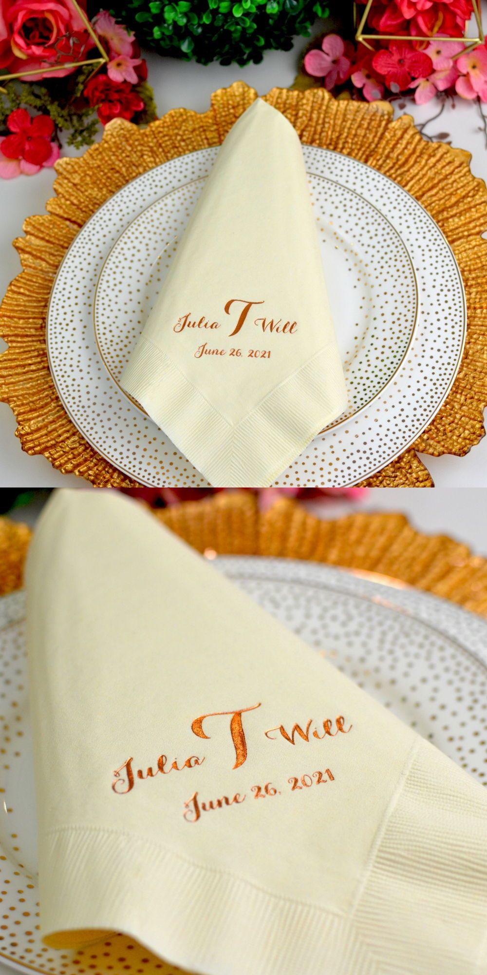 Wedding Dinner Napkins Personalized 3 Ply Paper Ecru White In 2020 Wedding Dinner Napkins Wedding Napkins Wedding Dinner