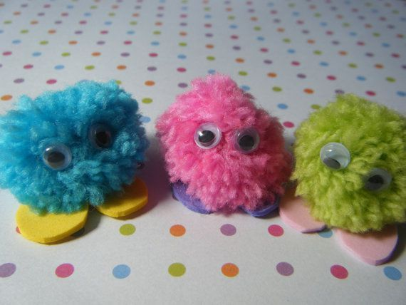Pack of 5 Quiet Critters / Pom Pom Monsters - great for party bag fillers/teachers/rewards #quietcritters Quiet Critters are very shy and don't like a lot of noise. They normally live at the bottom of gardens but only come out when no one is around and it's very quiet. They live in big groups and like to eat leaves. You will receive a pack of 5 quiet critters in assorted colours. They have foam feet and googly eyes. They are approx. 1-1.5 inches wide (please note : Not suitable for children unde #quietcritters