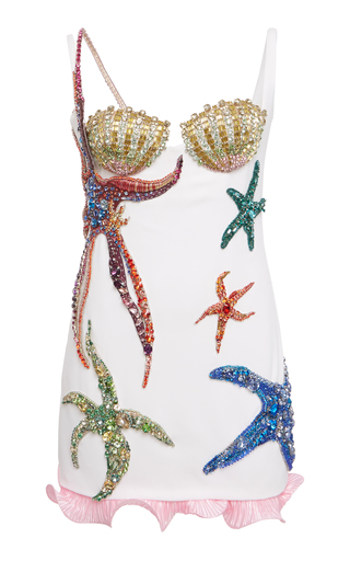 Embellished Crepe Mini Dress By Versace | Moda Ope