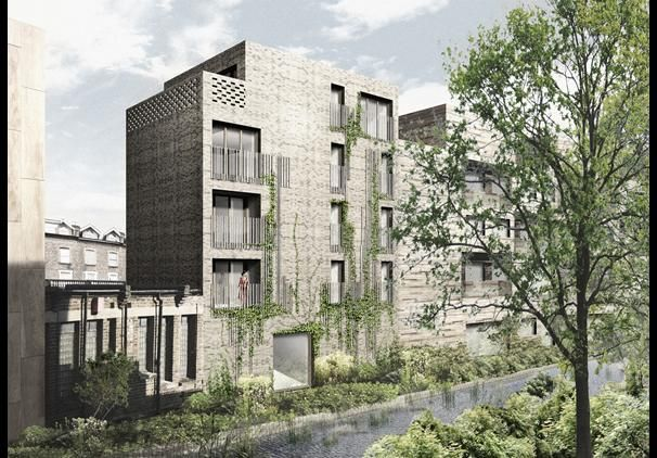 Henley Halebrown Rorrison's £2.3 million mixed-use housing and office scheme sitting between the River Quaggy and Lee High Road,in Lewisham,...