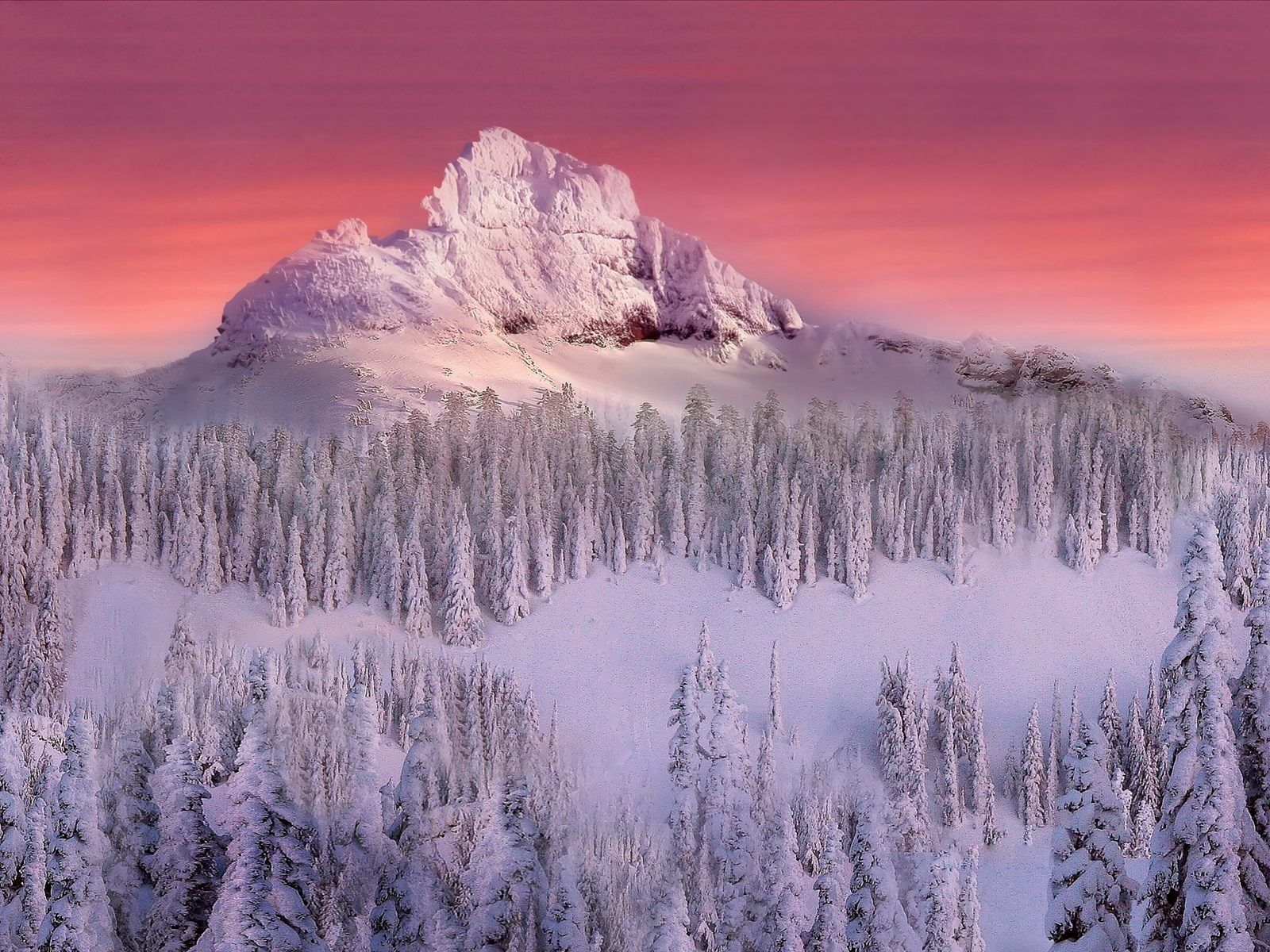 sunset mountains landscapes nature winter snow trees skylines forest