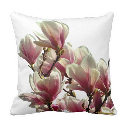 Blooming Pink Magnolia Spring Flower Throw Pillow Zazzle Com
