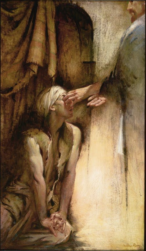 Christ heals the blind man.  Painting by American artist, Walter Rane