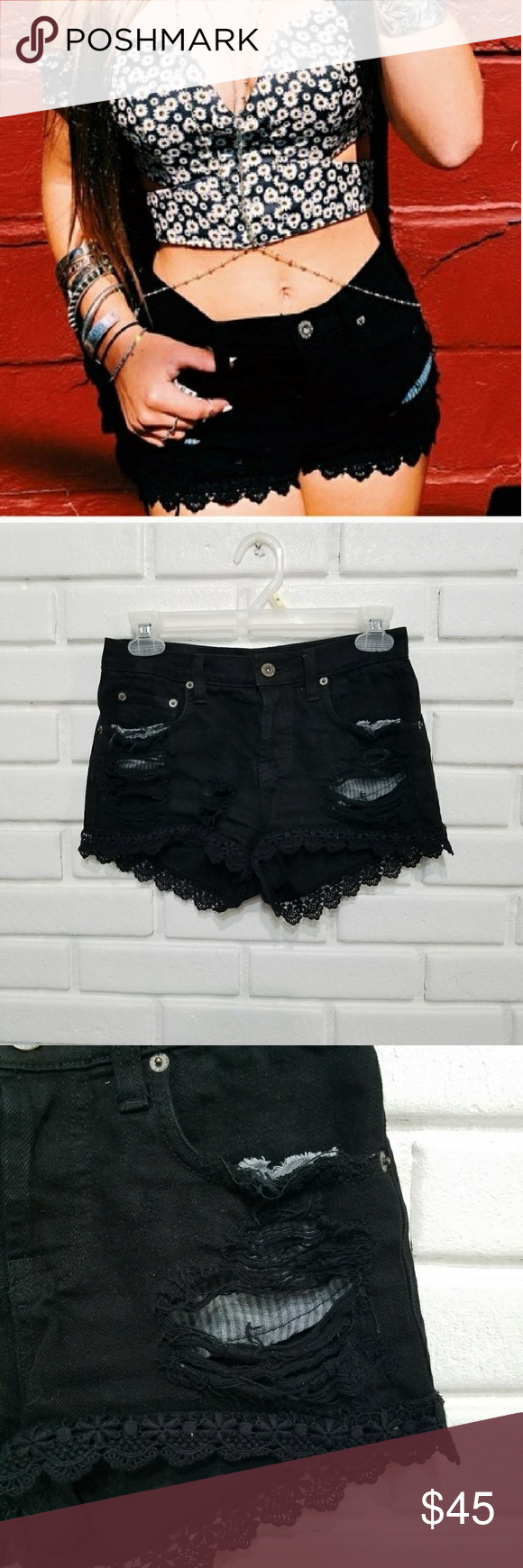 ebbdf20d55 Carmar Black Distressed Lace Trim Shorts 24 Carmar Black Distressed Lace  Trim Shorts size 24.