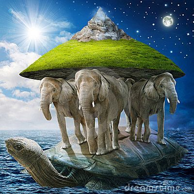 World turtle carrying the elephants that carries the earth upon their backs. #World #turtle #elephant